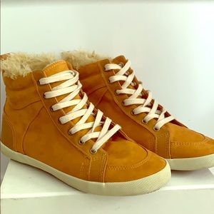 H&M Lined High Top Sneakers in Faux Suede